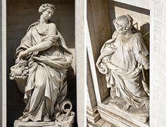 Filippo della Valle realizó las dos estatuas alegóricas que se situaron en los nichos a ambos lados de la fachada del Palacio Poli y que simbolizan la fertilidad y la salud  la segunda alegoría, que se sitúa a la izquierda de la monumental figura de Neptuno, representa a una figura femenina que sostiene una vasija en su mano derecha y de la que bebe una serpiente, gesto que simboliza la salubridad de esa agua pura y nueva que llega a la ciudad;