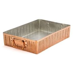 """Amoretti Brothers Copper Roasting Pan """"Lines"""" Décor, Tin Lining"""