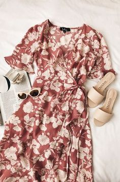 Wild Winds Pink Floral Print High-Low Wrap Dress Not a fan of high low hems but love this dress, sleeve length, the wrap & if it hit about knee length it would be a great spring to summer dress. Women's Dresses, Cute Dresses, Casual Dresses, Casual Outfits, Cute Outfits, Fashion Outfits, Summer Dresses, Flower Dresses, Womens Fashion