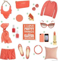 coral,coral,coral!!! - Click image to find more Women's Fashion Pinterest pins
