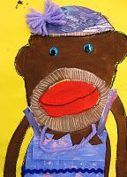 Sock Monkey Painting/Collage