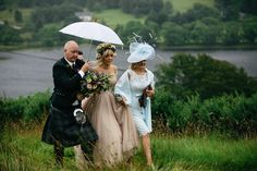 Jillian wore a dusky pink 2-piece dress by Watters for her romantic outdoor wedding ceremony in Scotland. Captured by MIrrorbox Photography.