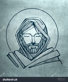 Hand Drawn Illustration Or Drawing Of Jesus Christ Serene Face - 355606301 : Shutterstock
