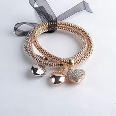 3 Piece Set Multilayer Women's Bracelet Retail – Hearts