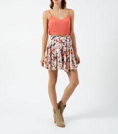 White Floral Print Belted Skater Skirt