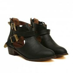 Stylish Women's Ankle Boots With Openwork and Cross-Straps Design