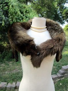 Vintage Mink 1 Real Fur Full Body Stole Shawl Collar Natural Taxidermy by Holliezhobbiez on Etsy