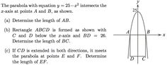 Parabola coord geom - Candian Senior Maths Comp 2011 B1