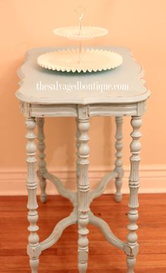 french accent table - how to get an aged look with latex paint | The Salvaged Boutique