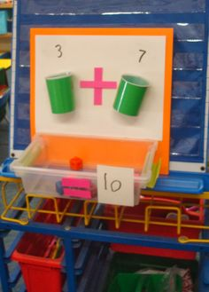 Sweet Sounds of Kindergarten : Math- Addition Cups! Would be easy to set up at home. Numeracy Activities, Addition Activities, Math Addition, Activity Games, Math Games, 1st Grade Math, Math Class, Kindergarten Math, Teaching Math