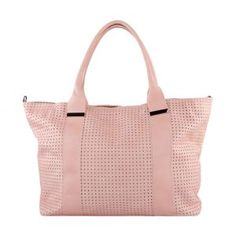Ava Leather Textured Tote Bag in Rose