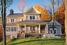Belle maison champêtre de style nouvelle-angleterre américain, no. 2853 de Dessins Drummon