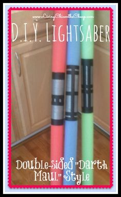 "***DIY Lightsaber*** All you need is a pool noddle and  duct tape! My Little Jedis Loves these. I made the standard Lightsaber and the Double sided ""Darth Maul"" variety. Perfect for the Star Wars themed parties too! #Starwars #Kids"