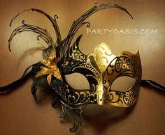 Black Gold Masquerade Mask PartyOasis.com
