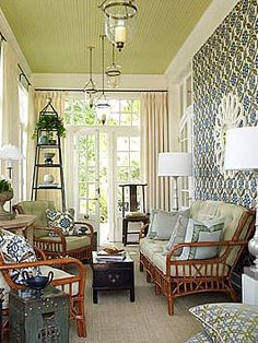 LOVE the ceiling color & lamps!