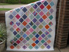 Charm Square Lattice Quilt - includes link for free pattern to make a lattice quilt like this for a baby quilt