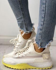 ivrose / Net Surface Breathable Lace-Up Yeezy Sneakers Yeezy Sneakers, Casual Sneakers, Shoes Sneakers, Footwear Shoes, Estilo Fashion, Sneaker Heels, Color Beige, Platform Sneakers, Pattern Fashion
