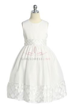 Trellis Pattern Waist and Hem Flower Girl & Communion Dress T5426W $67.15 on www.GirlsDressLine.Com
