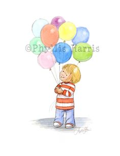 Children's Wall Art Toddler with Balloons by PhyllisHarrisDesigns