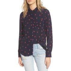 Women's Rails Kate Strawberry Print Silk Shirt ($148) ❤ liked on Polyvore featuring tops, shirt top, pure silk shirt, blue top, silk button up shirt and blue button-down shirts