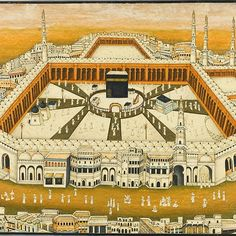 A miniature view of Mecca, India, 19th century