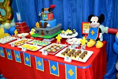 Boys Mickey Mouse Themed Birthday party Table decoration idea