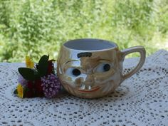 Excited to share the latest addition to my #etsy shop: Vintage Peach Luster Face Cup Souvenir of Shreveport Louisiana Old Japan Made Mug or Teacup Funny Make a Fun Planter or Vase https://etsy.me/2jLUyBi #housewares #orange #peach #lusterware #lustreware #peachluster #