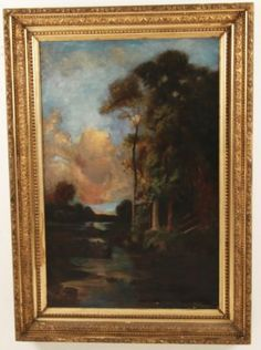 R.S. DUNNING, 19TH C. OIL ON CANVAS LANDSCAPE PAINTING