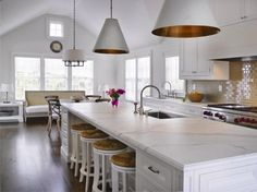 Visual Comfort lights, Calcutta marble with ogee edge, White enamel hood