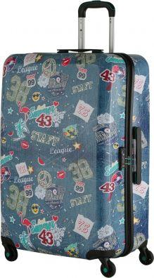Reisekoffer im coolen Patches Design in Jeansblau. Der neue Begleiter für Deine Reisen!