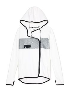 High/Low Hoodie PINK TK-350-353 (5PS) Zip it good! Relaxed fit hoodie in stretch fleece, perfect for layering over your fave tee. Asymmetric zip and high-low hem. Only by Victoria's Secret PINK. High-low hem Asymmetrical zip Pockets Printed and embroidered graphics Stretch fleece Thumbholes Imported cotton/polyester/spandex