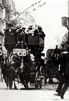 Wilsdorf on a horse-drawn London bus, 1908