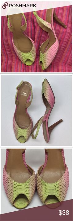 """🐠Stuart Weitzman Mermaid Slingback🐠 🚫Trades/PP/holds🚫 SW Slingback *  Pink/peach/chartreuse ombre snakeskin (not just embossed!) *  Stacked 3 ½"""" heel, leather sole, gold-tone buckle *  Size 8, about 10"""" toe-heel along footbed, about 3"""" across widest part of sole *  Pre-loved, no missing scales, scales not 100% showroom perfect but give a stunning effect, wear on soles Plz ask ?s esp. if unsure of condition or need more pics! Stuart Weitzman Shoes Sandals"""