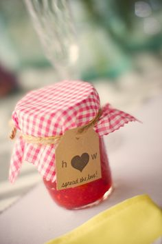 Home made jam for wedding favours
