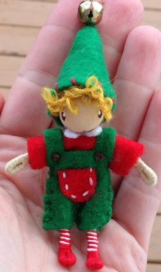 Christmas elf a waldorf inspired bendy doll http://www.etsy.com/shop/ACuriousTwirl  By: A Curious Twirl