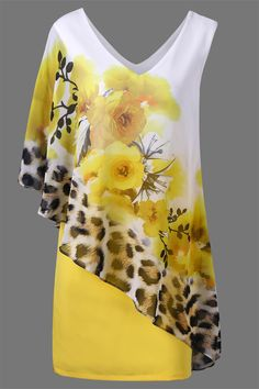 V Neck Floral and Cheetah Print Capelet Party Dress V Neck Floral and Leopard Capelet Dress – Yellow - My Accessories World Capelet Dress, Mode Style, Yellow Dress, Dress Patterns, African Fashion, Blouse Designs, Designer Dresses, Beautiful Dresses, Ideias Fashion