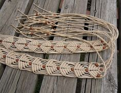 Macrame Belt Beige with Wooden Beads. Rope tie by RetroAmerica