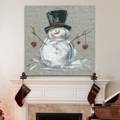 The Holiday Aisle 'Snowman' Painting Print on Wrapped Canvas Christmas Snowman, Christmas Wreaths, Christmas Decorations, Christmas Ornaments, Christmas Time, Advent Wreaths, Christmas Tables, Nordic Christmas, Modern Christmas