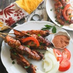 Suya (Chicken)--These baked African style chicken satay are smothered in a spicy, flavorful peanut butter sauce. Perfect for snacks, summer picnic or as main dish. Zimbabwe Food, Zimbabwe Recipes, Fruit Kebabs, Kabobs, Skewers, Chicken Satay, Beef Satay, Best Cooking Oil, Kebabs On The Grill