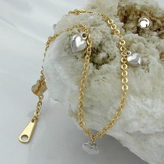 Armband, Ankerkette mit Herzen, 9Kt GOLD  5 Herzen, Vorderseite rhodiniert, Herz 5mm