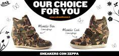 #Mimetizzati con il #trend della #stagione: #camouflage! Scegli tra le #sneaker con #zeppa di #Ash! Qual'è la tua #preferita: la #sneaker più #urban #Cool o la versione più #chic #Bea?