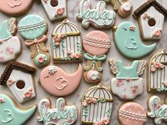 """AP Sugar Company on Instagram: """"Sweet little bird cookies for a baby shower! Had lots of fun with these! 🐦 🍼 . . . . . . . #birdhousecookies #babyshowercookies #babyshower…"""""""