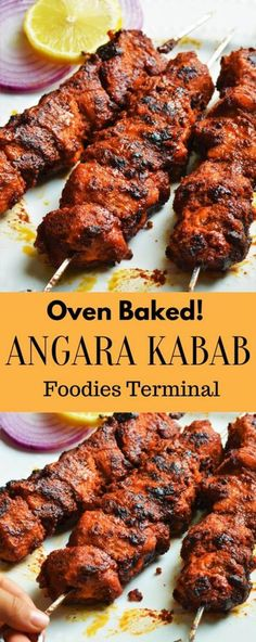 Make this delicious dry Indian Chicken Appetizer known as Chicken Angara Kabab. This oven baked indian chicken appetizer can be easily made in an oven, grill or on a skillet. For such easy recipes vis Indian Fried Chicken, Indian Chicken Recipes, Indian Food Recipes, Indian Chicken Marinade, Chicken Starter Recipes, Lebanese Chicken, Kebab Recipes, Curry Recipes, Appetizer Recipes