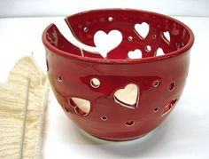 Yarn Bowls Crochet Bowl Red Heart Knitters Yarn by blueroompottery, $38.00