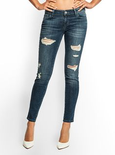 Kate Low-Rise Skinny Destroyed Jeans in Dreamer Wash | GUESS.com