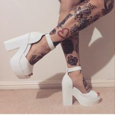 7541a052bcfe Mollie ankle strap peep toe chunky platform boots in white pu Heels Tumblr