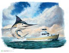 Marlin illustration Whale, Bird, Animals, Illustrations, Animais, Animales, Animaux, Whales, Birds