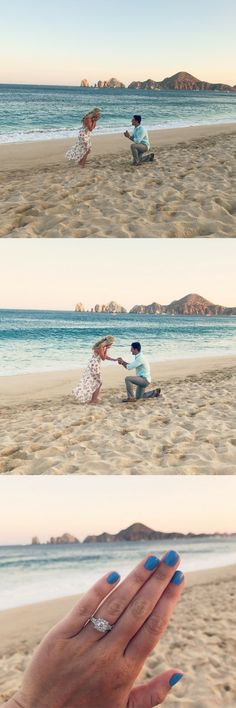 This marriage proposal in Cabo San Lucas was the most beautiful beach surprise, and the ring is stunning!