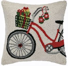 Classic Red Christmas Gifts Bicycle - 18 x 18 Wool Hooked Pillow
