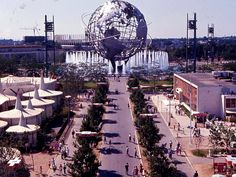 "1964 World's Fair - I was there! The theme was ""Peace Through Understanding,"" dedicated to ""Man's Achievement on a Shrinking Globe in an Expanding Universe"""